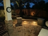 backyard paver bench with lights