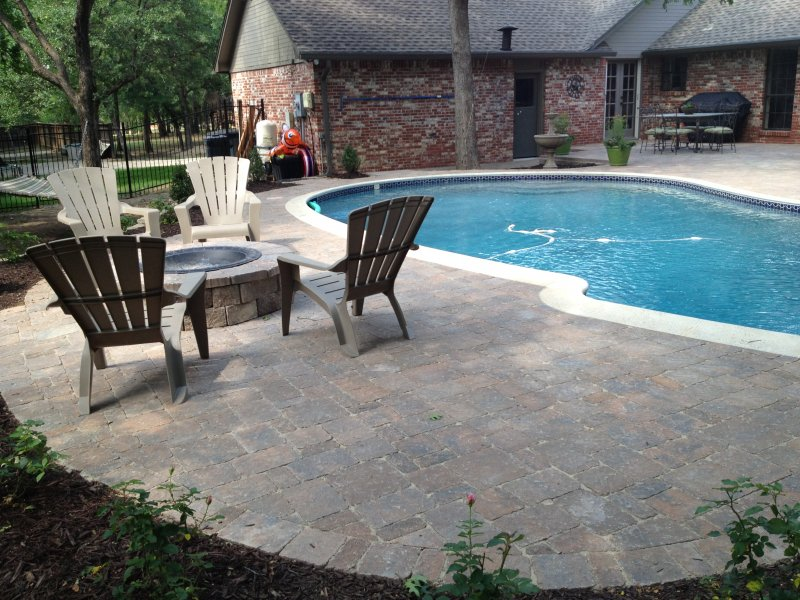 Pool Deck Southlake TX Bergerac In Brittany Beige Firepit Made Of Celtic  Wall