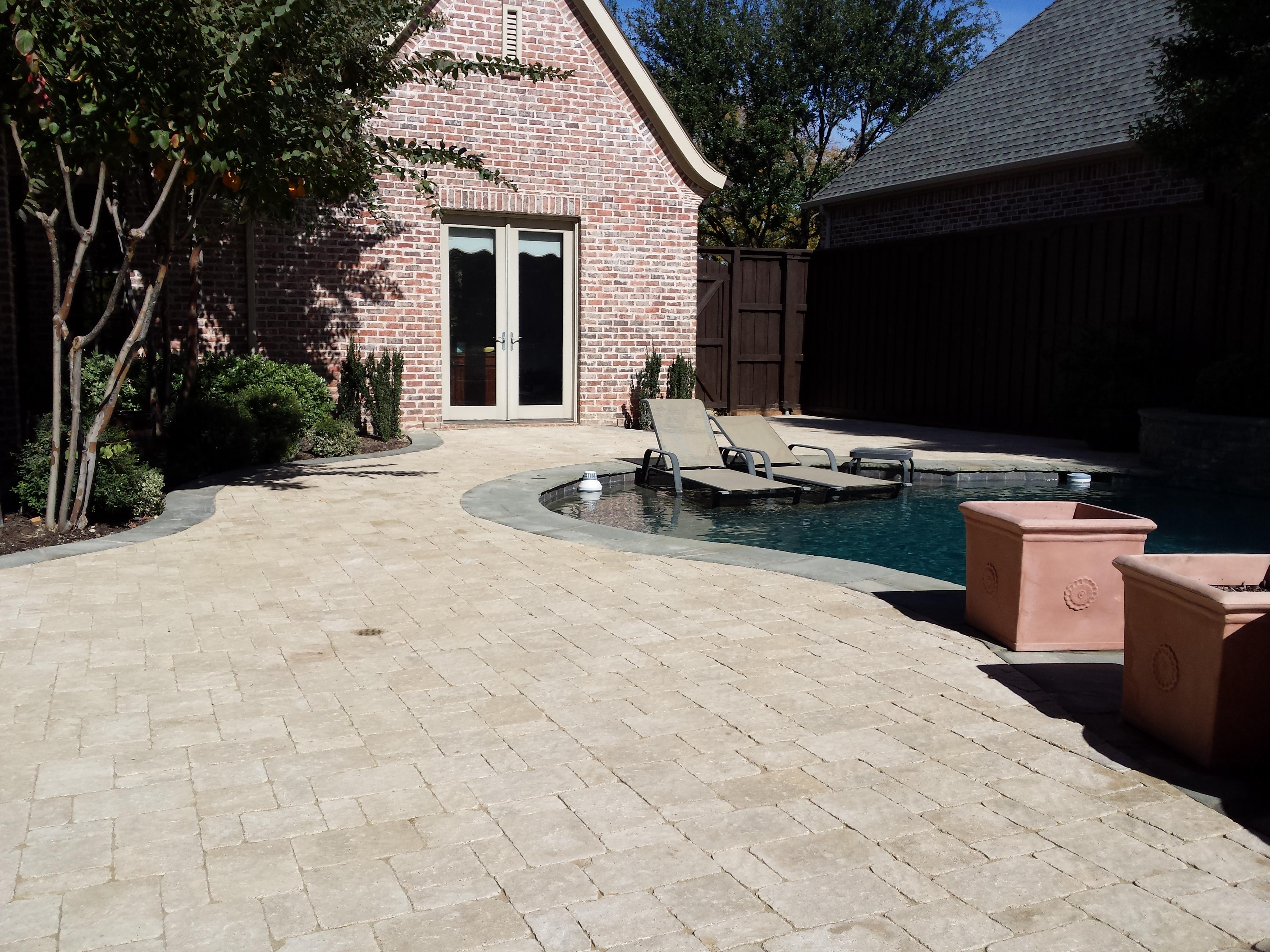 Custom paver pool deck in Plano Texas